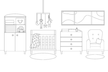 Vector Line Illustration of Baby Boys Room with Furniture. White and Black Outline Sketch of Home Related. Vector Modern Interior Design in Line Art Style. Childrens Bedroom with Window, Armchair Stock Illustratie