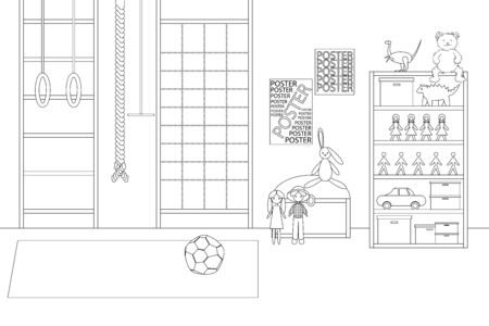 Vector Line Illustration of Childrens Game Room. White and Black Outline Sketch of Kindergarten Room with Sport Equipment and Toys. Modern Interior Design in Line Art Style. Concept of Kids Playroom Ilustracja