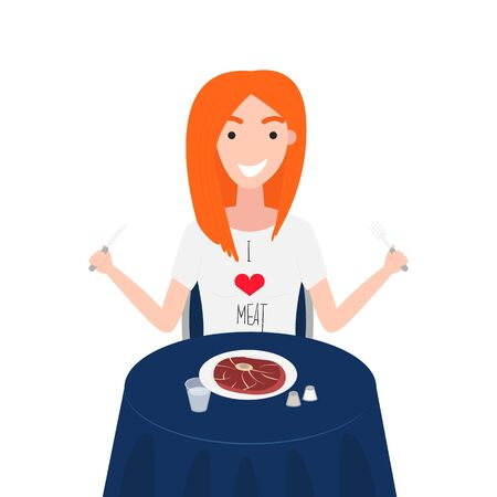 Vector Illustration of Woman is Eating Eye Steak Round. Girl has T-Shirt of Meat Lover. Healthy Nutrition Concept of Carnivore Diet. I Love Meat. Concept of Meat Lover is Following in Carnivore Diet Illustration