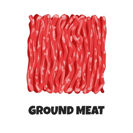 Vector Realistic Illustration of Ground Meat. Minced Raw Meat of Beef or Pork Isolated on White Background. Ingredient of Carnivore Diet in Flat Graphic Style. Concept of Healthy Organic Food