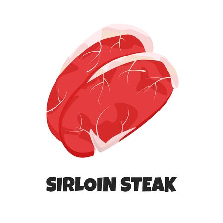Vector Realistic Illustration of Sirloin Steak. Banner with Steak Silhouette and Text Sirloin Steak. Ingredient of Carnivore Diet in Flat Graphic Style. Concept Design of Farm Product of Picanha Steak