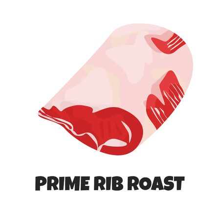 Vector Realistic Illustration of Prime Beef Rib Roast. Food Theme with Meat Product. Farm Product for Barbecue, Restaurant in Cartoon Flat Style. Ingredient of Uncooked Loin for Carnivore Diet Çizim