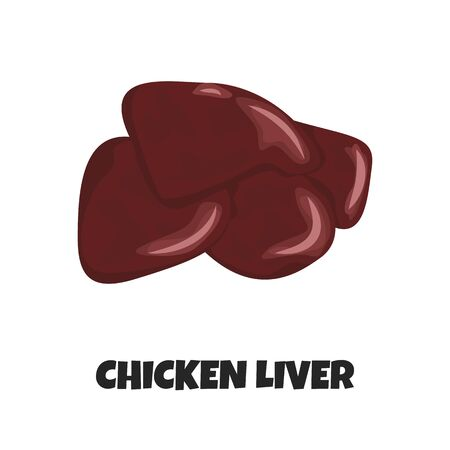 Vector Realistic Illustration of Raw Chicken Liver. Concept Design of Internal Organ of Poultry. Uncooked Ingredient for Carnivore Diet in Cartoon Style. Farm Product for Barbecue, Poster, Banner