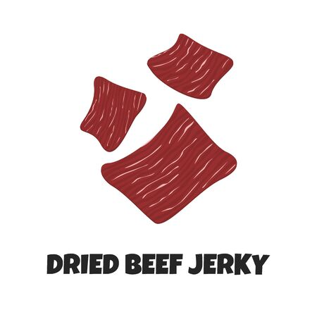 Vector Realistic Illustration of Dried Beef Jerky. Dried Red Meat is like Snack for Carnivore Diet. Concept Design of Crispy Meaty Product in Flat Style. Meaty Appetizer of Premium Quality