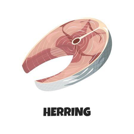 Illustration réaliste de vecteur de steak de hareng isolé sur fond blanc. Délicieux filet de poisson en style dessin animé. La conception pourrait être utilisée pour le menu, les bannières, l'affiche du restaurant, la poissonnerie Vecteurs