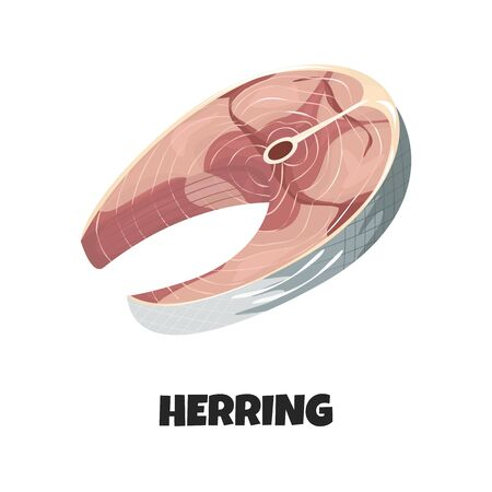 Vector Realistic Illustration of Steak of Herring isolated on White Background. Delicious Fish Fillet in Cartoon Style. Concept Design could be used for Menu, Banners, Poster of Restaurant, Fish Shop