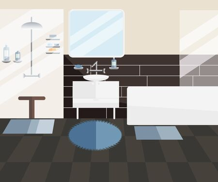 Vector Interior Design of Bathroom in Flat Style for Men. Clean Modern Men's Bathroom with Sink, Bath, Shower and Accessories. Home Related Scene with Objects - Bath, Shower Cabin, Mirror, Wash Basin Illustration