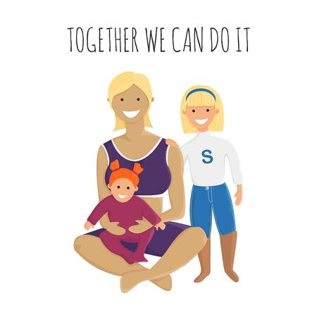 Vector Illustration of Super Mom with Daughters in Flat Style. Motivational Banner with Adult Woman, Little Girl and Baby Girl.Concept Design of Happy Smiling Super Mother with her Children Standard-Bild - 130532199