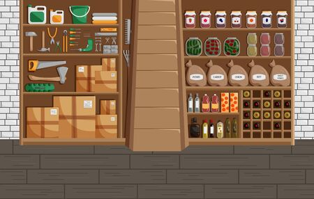 Vector Illustration of Basement in Flat Style. Classic Concept of Cellar with Canned Food, Wine and Vegetables. Workshop or Storehouse with Mechanic Equipment Set. Modern Design of Storage Interior