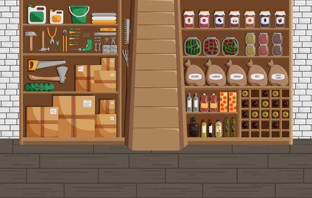 Vektor-Illustration des Kellers im flachen Stil. Klassisches Konzept des Kellers mit Konserven, Wein und Gemüse. Werkstatt oder Lagerhaus mit Mechaniker-Ausrüstung. Modernes Design des Lagerinnenraums