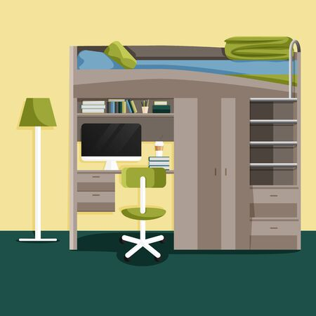 Vector Flat Modern Interior of Teenage Bedroom. Illustration of Interior Design with Workspace for Homework: Table, Chair, Computer, Bunk Bed. University, High School College, Hostel Living Apartment