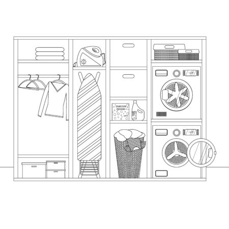 Vector Linear Sketch of Laundry Interior Room. Contour Illustration of Laundry Room with Washing Machine, Detergent, Basket and Clothes Hanging on Hangers. Interior Sketch in Outline Style