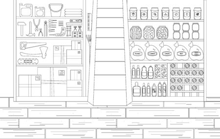 Vector Illustration of Storeroom in Outline Style. Working Place with Tools in Left Side and Canned Food and Wine in Other Side. Linear Sketch of Cellar Interior Room. Concept Design of Basement