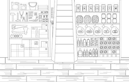 Vektor-Illustration des Lagerraums im Umriss-Stil. Arbeitsplatz mit Werkzeugen auf der linken Seite und Konserven und Wein auf der anderen Seite. Lineare Skizze des Kellerinnenraums. Konzeption Keller