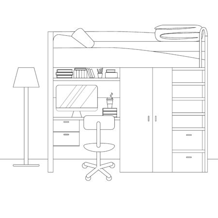 Vector Linear Interior of Teenage Bedroom. Illustration of Interior Design with Workspace for Homework: Table, Chair, Computer in Linear Style. University, High School College, Hostel Living Apartment