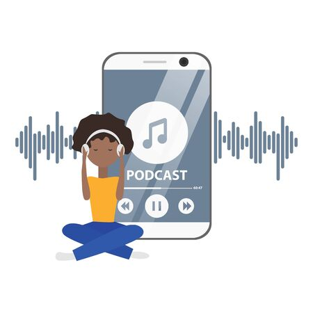 Vector Flat Concept of Podcast with Girl and Phone.Illustration of Internet Digital Recording, Online Broadcasting.Webinar, Online Training, Tutorial Podcasting Concept. Young Woman is Listening Music