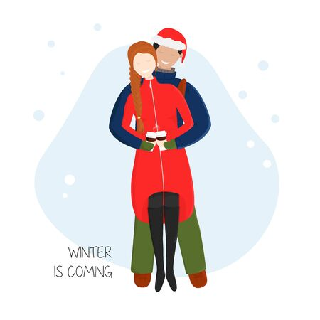 Vector Cartoon Illustration of Couple Cuddling. Boyfriend Hugs his Girlfriend behind and She Holding Cups with Hot Chocolate. Flat Concept Design of Enamored Young People for St. Valentines Day Date 向量圖像