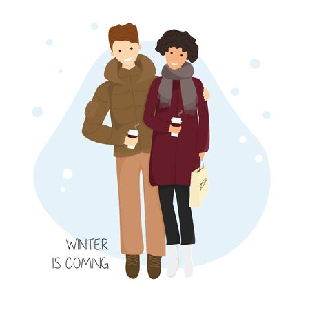 Vector Illustration of Couple with Hot Chocolate in Flat Cartoon Style. Happy Romantic Couple Walking and Drinking Coffee. Boyfriend Hugs Girlfriend in Snowing Time. Design Concept of Winter is Coming 向量圖像