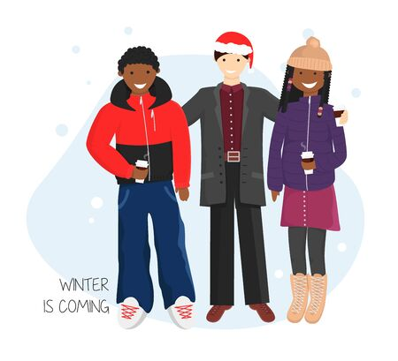 Vector Flat Illustration of Group of Friends with Cuos of Hot Chocolate. A Guy Making a Meeting between Two his African Beautiful Friends to Represent them Each Other. Concept Design of Friendship