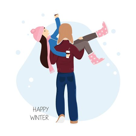 Vector Flat Illustration of Man is Carrying Woman. Adorable Romantic Couple with Cups of Hot Chocolate. Couple in Love. Boyfriend with Girlfriend Walking. Design of Winter Holidays, Valentines Day