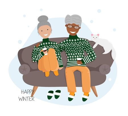Vector Flat Illustration of Elderly Ñouple in Love Sitting on Sofa and Drinking Hot Chocolate. White Cat is Sleeping over Sofa. Cozy Concept Design for Merry Christmas,Winter Holidays in Cartoon Style