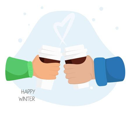 Vector Illustration of Clink Cups of Hot Chocolate in Flat Cartoon Style. Concept Design of Couple Hands, that Clinks with Coffee Cups. Usable like Banner, Poster, Flyer  of Valentine Day, Christmas