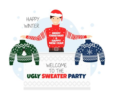 Vector Banner for Welcome to Ugly Sweater Party. Inventation or Poster for Christmas and New Year Party in /cartoon Flat Style. Guy is Holding Two Hangers with Ugly Sweaters. Young Man in New Year Hat Stockfoto - 130716711