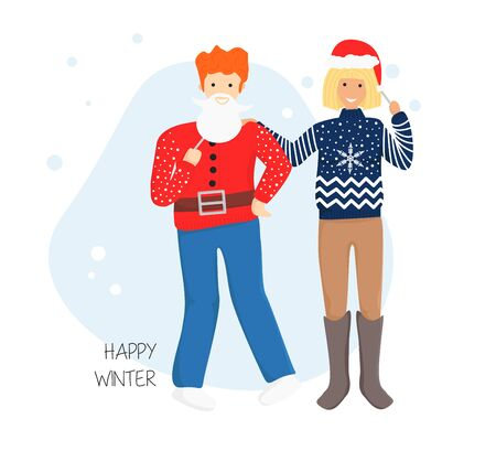Vector Flat Illustration of Couple in Ugly Sweater with Masks. Funny Young Adult People are Prepared for Christmas and New Year Party. Template for Greeting Card, Invitation for Winter Holidays, Event