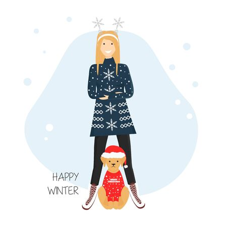 Vector Flat Illustration of Girl with Labrador Dog in Ugly Sweaters and Santa Hat for Christmas and New Year Party.  Template for Greeting Card, Postcard, Invitation in Cartoon Style. Cute Banner