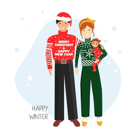Vector Illustration of Family in Ugly Sweaters for Christmas and New Year Topics.Concept Design for Family Day in Cartoon Flat Style. Illustration with Father, Mother and Baby Usable for Greeting Card Stockfoto - 130716713