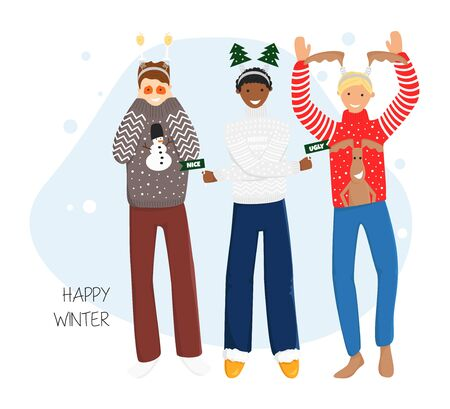 Vector Flat Illustration of Guys in Ugly Sweaters with Hair Bands. Concept Design of Funny Young People for New Year and Christmas Party Banner, Poster, Flyer, Invitation in Cartoon Flat Style