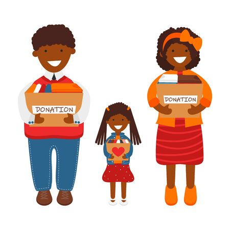 Vector Illustration of African Family of Volunteers Holding Donation Boxes. Concept of Clothes Donation. Social Care and Charity Concept. Adult Couple with Children  Prepared Old Clothes for Donation