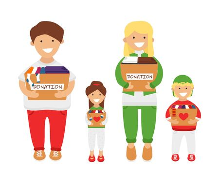 Vector Illustration of Family of Volunteers are Holding Donation Boxes in Cartoon Flat Style. Concept Design of Charity and Social Care. Adult Couple with Children  Prepared Old Clothes for Donation