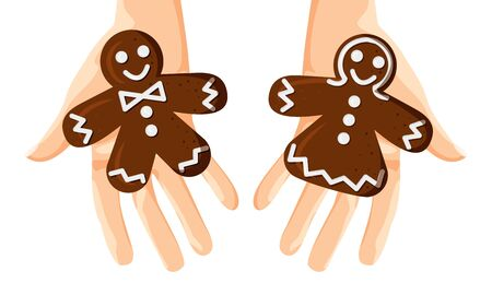 Vector Illustration of Gingerbread Men and Woman in Hands. Christmas Concept Design isolated on White Background in Flat Cartoon Style. Horizontal Template for Invitation, Greeting Card, Flyer, Banner Ilustracja