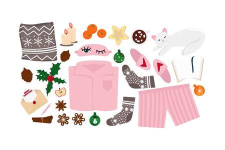 Illustration vectorielle de Hygge Winter Elements Set isolé sur fond blanc. Objets mignons de style de vie scandinave pour les vacances d'hiver. Utilisable pour carte de voeux avec des choses confortables comme Pijama, nourriture, boisson
