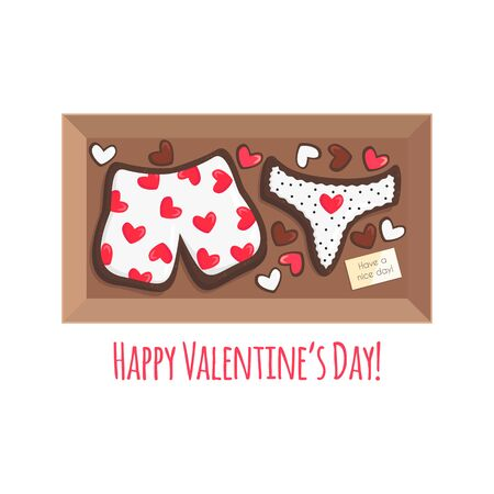 Vector Illustration of Box with Cookies for Couple like Gift for Saint Valentine's Day.Funny Sweet Bakery Products looks like Boxers and Panties.Food Concept usable for Greeting Card, Postcard, Banner