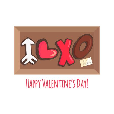 Vector Illustration of Box with Chocolate Cookies for Saint Valentines Day. Brown Shortbread in Shape like Heart, Narrow and Xo in Cartoon Flat Style. Usable for Greeting Card, Flyer, Invitation