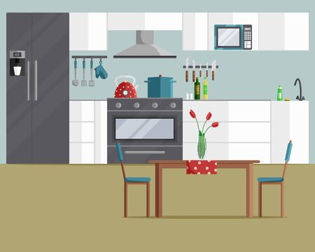 Illustration vectorielle de l'intérieur de la cuisine rétro confortable. Conception de concept moderne avec meubles, cuisinière, table, chaises, réfrigérateur et appareils de cuisine. Scène d'intérieur, fond d'accueil dans un style plat de dessin animé