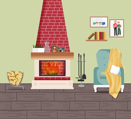 Vector Illustration of Interior with Fireplace and Armchair. American Traditional Classic Design of Living Room with Wall Pictures, Bookshelf, House Plant and Furniture. Interior in Cartoon Flat Style