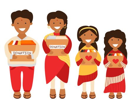 Vector Illustration of Indian Family of Volunteers are Holding Donation Boxes in Cartoon Flat Style. Concept Design of Charity and Social Care. Adult Couple and Teens Prepared Old Clothes for Donation Illustration