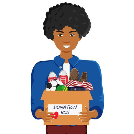 Vector Illustration of Clothes Donation with Man in Cartoon Flat Style. African Guy Holding Donation Box with Shoes, Clothes and Balls isolated. Minimalism Lifestyle, Social Care and Charity Concept Illustration