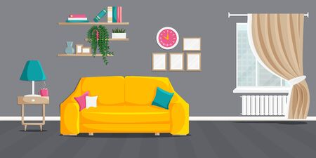 Interior of living room with modern furniture and decor. Vector banner with home related objects in cartoon flat style. Cozy illustration with yellow couch, bookshelves, house plants, lamp, window