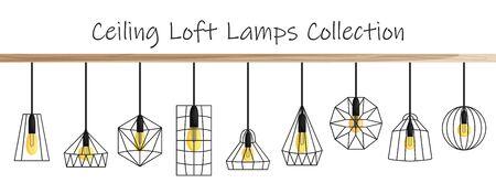 Collection de lampe loft plafond Vector dans un style plat. Ensemble de différentes lampes loft géométriques et abat-jour en fer pour l'intérieur et l'extérieur. Illuminer des objets avec des ampoules Edison en cage suspendue