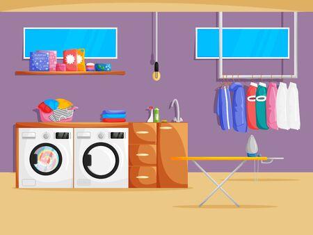 Interior de sala de lavandería de vector en estilo plano de dibujos animados. Ilustración de sótano con lavadora, secadora, ropa, estante, productos químicos y en polvo, ventanas y muebles. Banner de servicio de limpieza Ilustración de vector