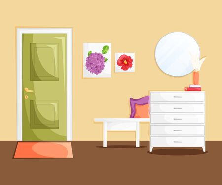 Vector interior of home hallway with decoration in flat cartoon style. Template of entrance of house with green door, mirror, white wooden furniture, pillows,books and dry flowers. Cozy home concept