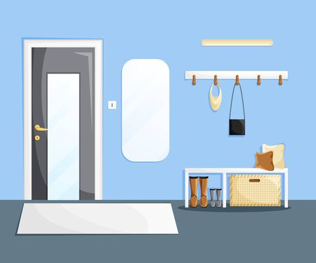 Vector interior of home hallway with furniture in cartoon flat style. Template of entrance of house with grey door, mirror, white furniture, pillows, clothes rack and accessories in minimalist style