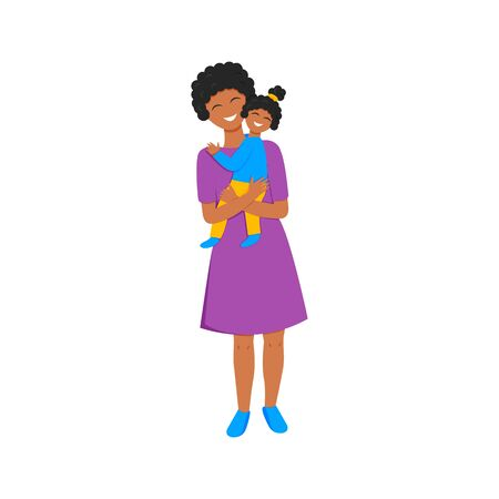 Vector illustration of african mom holds daughter.  Flat illustration of mom's love. Greeting card for mother's day with happy mummy hugging, care and holding her little girl. Colorful afro characters