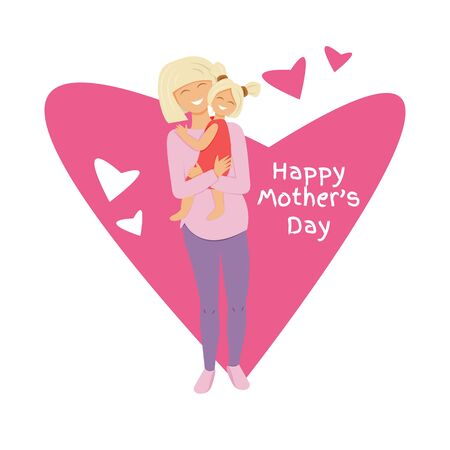 Vector illustration of blond mom hugging daughter. Flat illustration of mom's love. Cartoon characters design of pregnant mummy and little girl. Personages with heart shape and text for mother's day Illustration