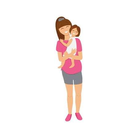 Vector illustration of brunette mom holds daughter. Flat illustration of mom's love. Cute cartoon characters design of pregnant mummy that hugging and cuddling her little girl. Usable for mother's day