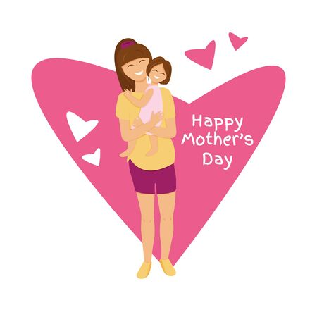 Vector illustration of brunette mom holds daughter. Flat illustration of mom's love. Cute characters design of pregnant mummy hugging girl. Personages with heart shape and text for mother's day Illustration